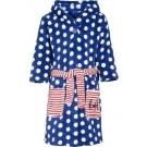 Blauwe badjas/ochtendjas met witte stippen print voor kinderen. 98/104 (4-5 jr)