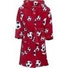 Rode badjas/ochtendjas met voetbal print voor kinderen. 122/128 (7-8 jr)