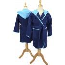 ARTG Boyzz&Girlzz® Kinder Badjas met Capuchon - Donkerblauw/Aquablauw - French Navy/Aqua Blue - Maat 116/128
