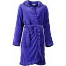 Romantische fleece dames badjas met capuchon. Royal Blue-S9-10