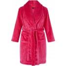 Roze kinderbadjas - fleece - sjaalkraag - badrock - maat (L) 134-140