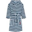 Blauwe/witte badjas/ochtendjas met strepen print voor kinderen - Playshoes kinder fleecebadjas 110/116 (5-6 jr)